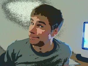 The game developer himself, pixelated.